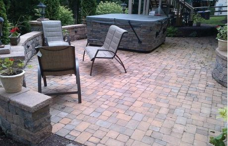 lounge chairs on brick patio