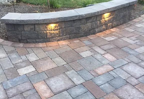 stone path with matching wall