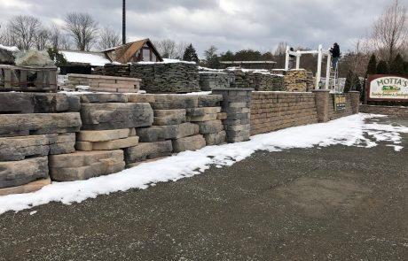 snow on retaining walls