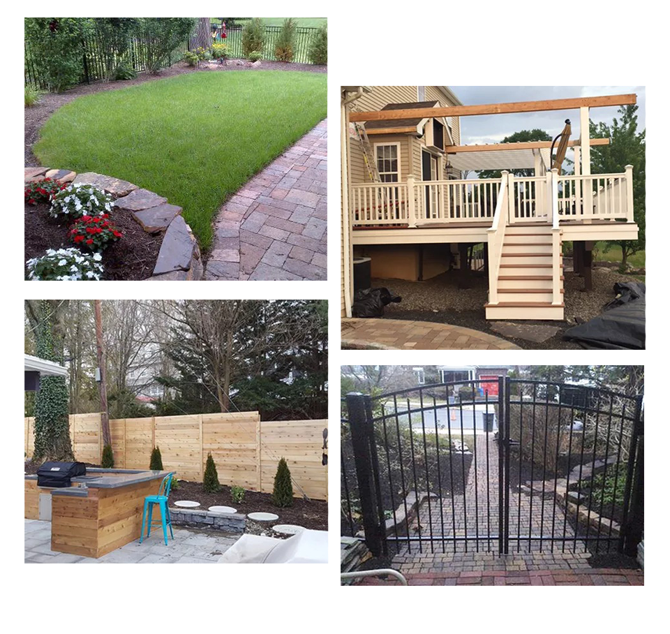 landscaped yard, deck, fencing