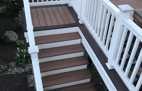 white & wood deck