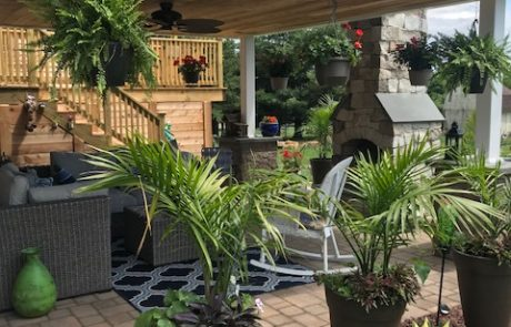 landscaping surrounding covered patio