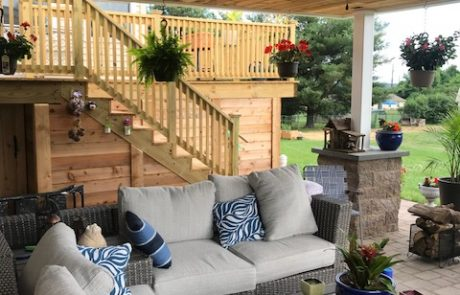 outdoor living space with wood deck