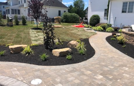 patio with new landscape