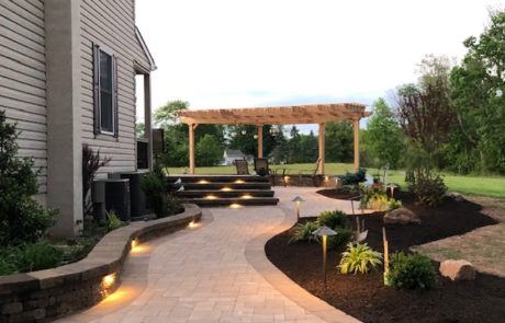 backyard patio with pergola sitting area